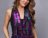 Vest Scarf from recycled silks and fabrics. Lined back