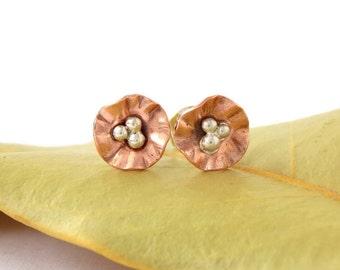 Mini Flower Stud Earrings: sterling silver, copper flower, dainty earrings, blossom earrings, dainty studs, flower studs, flower posts