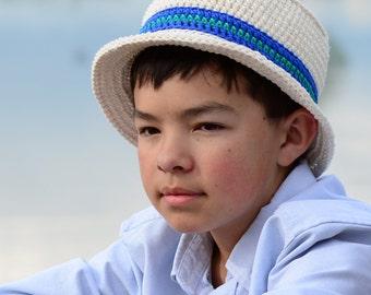 CROCHET PATTERN - Cabana Boy Hat - sun hat pattern for boys,  barbershop hat pattern, boater hat (baby - adult sizes) - Instant PDF Download