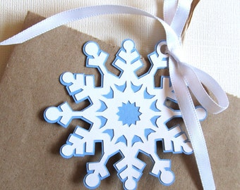 Large Snowflake Tags, Winter Wonderland, Party Favor Tags, Christmas, Wedding, Shower, Birthday, Frozen Party, White, Blue,  Set of 6