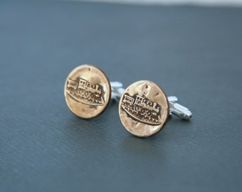 Train Cuff Links Locomotive Transportation Cufflinks - made with vintage buttons