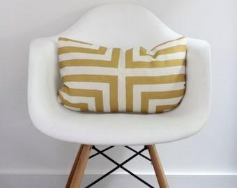 Doha lumbar pillow cover in metallic gold on off-white organic cotton hemp