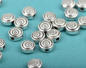 25 Antique Silver SPIRAL Textured Round Metal Spacer Beads, 6mm, bme0388