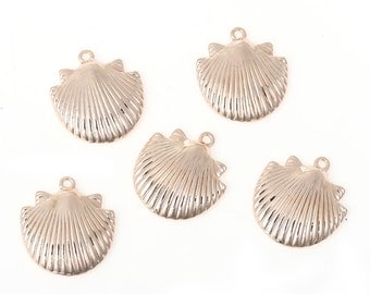 5 Rose Gold SEASHELL Charm Pendants, 24x22mm, cho0162