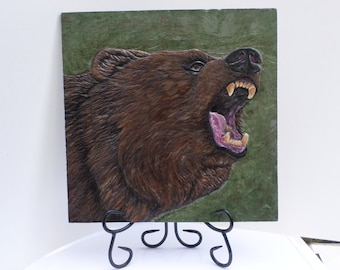 Grizzly Bear Stone carving, Bear Wall art, relief carving, slate carving, bear carving, animal art, bear art