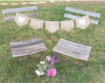 Mr and Mrs wedding banner -- Mr & Mrs sign, burlap wedding banner
