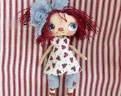 Raggedy Ann , Hand made doll, hand painted original , cloth doll , fabric doll, OOAK doll, rag doll.