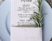 Calligraphy Script 1 Wedding Menu Printable Template