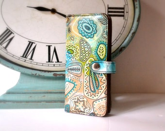 Hand Painted Leather Wallet, iPhone Wallet Case, Girlfriend Gift, Wife Gift, OOAK, Unique Gift For Her, One-of-a-kind gift for her