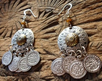 Moroccan  round tarnished coin earrings with silver hooks