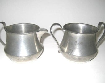 Vintage Pewter Sugar and Creamer Set - Crescent Pewter, Rolled Edge, Art Deco Style - Aged Patina
