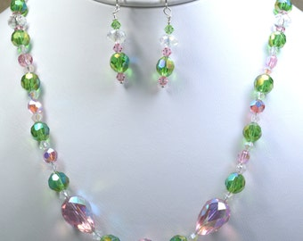 Vintage Green and Pink Crystal Necklace and Earring Set (A142)