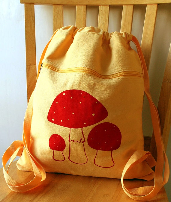Mushroom Canvas Backpack School Bag