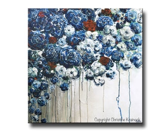 ORIGINAL Large Art Abstract Oil Painting Blue Flowers Acrylic Painting Navy Blue White Wall Art Home Decor Textured Palette Knife Christine