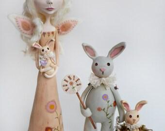 Spring Fairy - Spring Bunny - Fairy Art - Bunny Art - Spring Decor - Made To Order