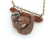 Sloth necklace charm pendant jewelry with baby with bronze chain, grey sloth polymer clay ,sloth sculpture ,sloth figurine , sloth miniature