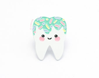 SALE! Aqua Sweet Tooth Enamel Pin - Soft Enamel Pin Cloisonné Tooth Lapel Pin Enamel Tooth Pin Badge Tooth Kawaii Pin Wisdom Tooth Brooch