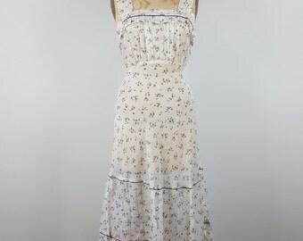 summer rose | vtg 1930s maxi dress | vintage 30s summer sun dress | floral print | long | medium/m | large/l