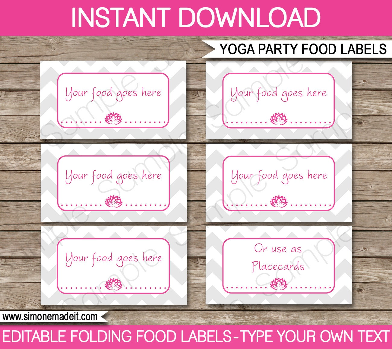 Yoga Food Labels Buffet Tags Tent Cards Party By SIMONEmadeit