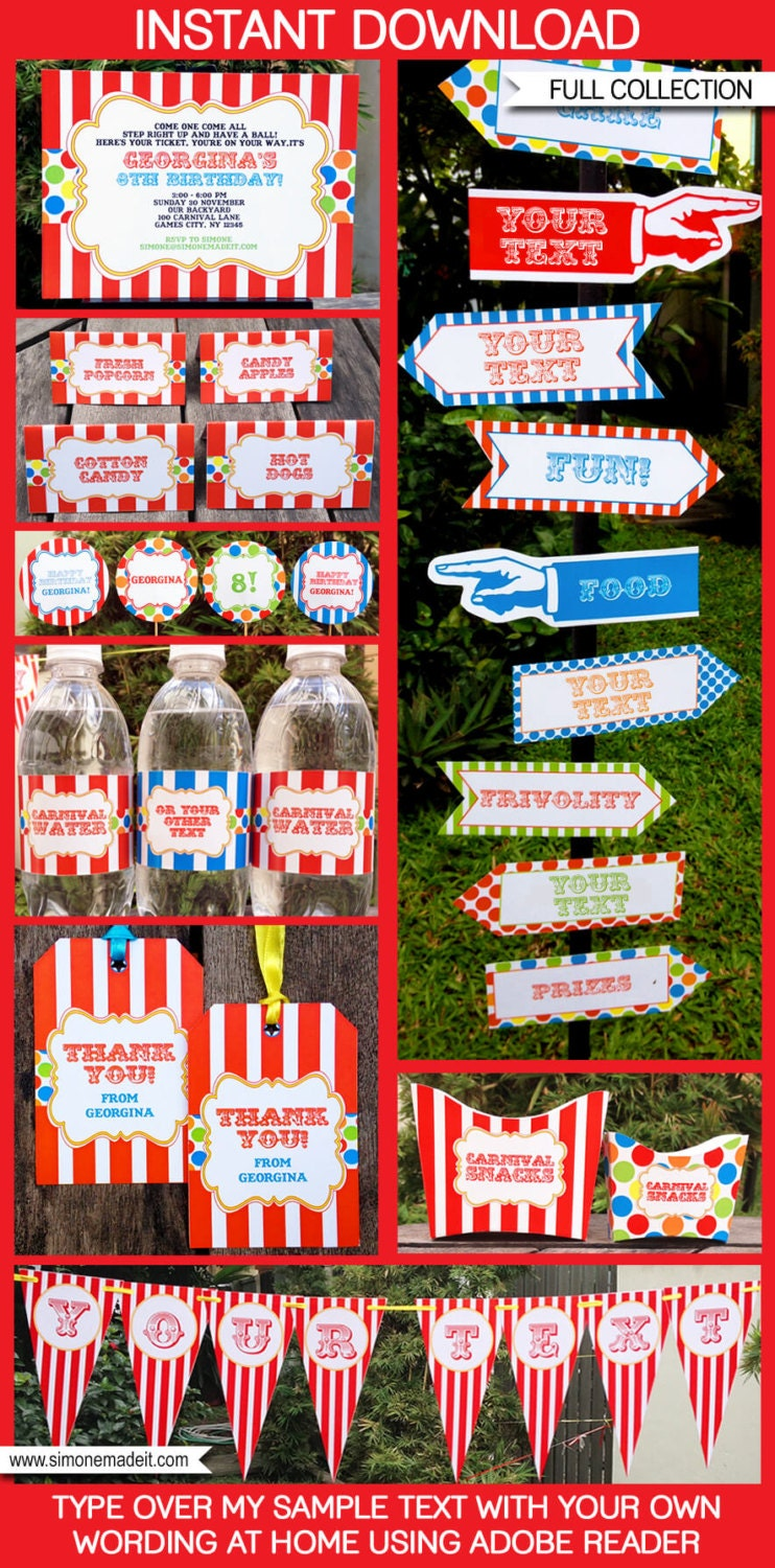 Carnival Theme Party Invitations & Decorations full