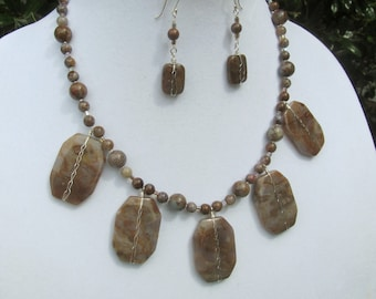 Sage Amethyst Slabs and Pietersite Bead Necklace and Earring Set Natural Stone Jewelry