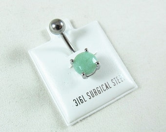 Belly Ring, Semi Precious Jade Stone in a Surgical Steel Prong Setting  Womens Gift