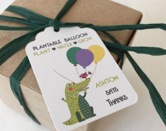 Crocodile Plantable seed paper favors - 50 seed paper boxed personalized favors - assemby required - kids crocodile party