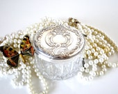 Crystal and Sterling Silver Powder Jar Grande Baroque Wallace
