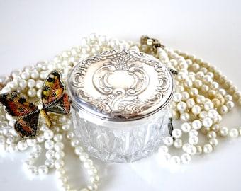 Crystal and Sterling Silver Powder Jar Grande Baroque Wallace