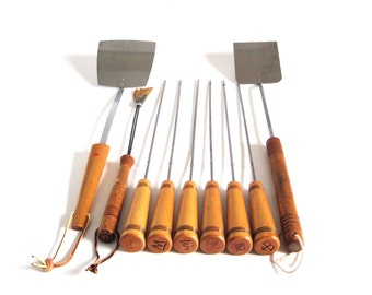 Androck Grill Tools Grilling Utensils Cattle Brand Skewers Kebab Rods Long Handle Spatulas Natural Bristle Basting Brush Barbecue Tools