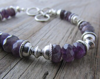 Amethyst Bracelet, faceted, dark purple amethyst stone bracelet, adjustable bracelet