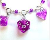 RPG Dice Charm Bracelet ~ 5 Translucent Purple (D4, D8, D10, D12, D20) Dice on a Hand Beaded Bracelet ~ OOAK ~ One Of A Kind