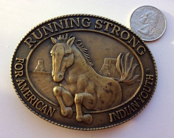 Brass belt buckle with Horse-Running Strong for American Indian Youth-Horse on the plains-North Dakota-Belt Buckle Billy Mills Oglala Lakota