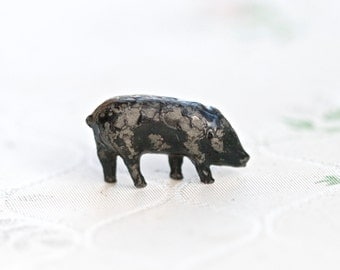 Lead Miniature Piglet - Iron Cast Black Pig - Antique Miniature Farm Lead Toy - Made in England