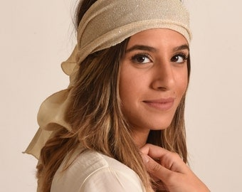 ivory headband / gold hairband / evening turban / made in Israel Herzeliya