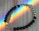 Black Onyx and Silver Beaded Bracelet