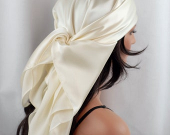 Silk Charmeuse Scarf, Sleep or Bandana Scarf Sizes, Ivory Mulberry Silk, Hair Wrap, Scarves for Hair Care and Fashion