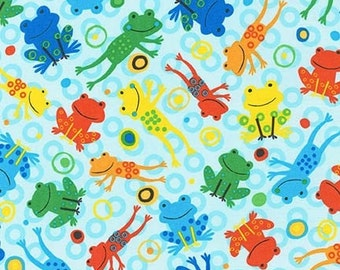 LAMINATED cotton fabric by the yard (similar to oilcloth) Leaping Jumping Frogs on Aqua - WIDE - BPA free - Approved for children's products