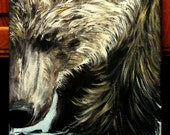 """Grizzly BEAR original acrylic painting on 11"""" x14 """" stretched canvas, wildlife painting, animal art, wall decor, unframed office art"""
