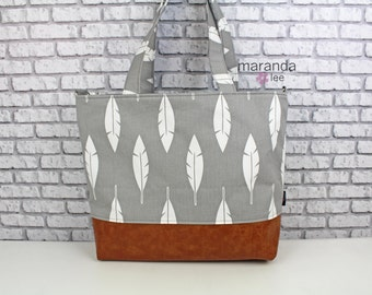 Lulu Large Tote Diaper Bag Grey Feather and PU Leather with Grey Lining-READY to SHIp Shoulder Straps 6 pockets Nappy Bag