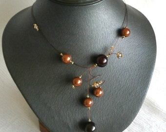 Illusion Necklace, Brown Necklace, Statement Necklace, Swirls Necklace, Bridal necklace