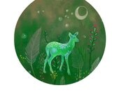 WOODLAND DEER PRINT / Green Print / Deer Art Cute Fawn / Deer Illustration / Deer Gift