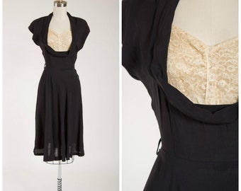 Vintage 1940s Dress • Sweet Gal • Black Rayon with Lace 40s Dress Size Medium