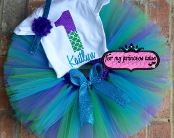 Mermaid First Birthday outfit PERSONALIZED mermaid onesie, mermaid tutu, first birthday, mermaid theme birthday, birthday tutu, mermaid tutu
