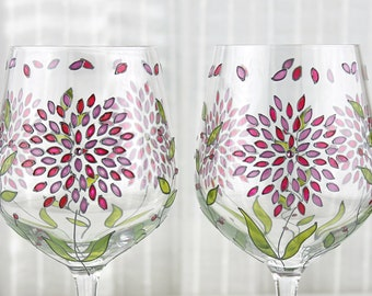 Wine Glasses with Pink Hydrangea Design, Wedding Glasses, Hand Painted Glasses with Swarovski Crystals, Wine Goblets, Set of 2 Ready to Ship