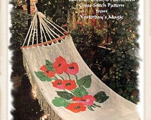 Instant Download PDF Sewing and Embroidery Pattern Cross Stitch Chart & Instructions to make Poppy Design Hammock Hanging Chair Garden Swing