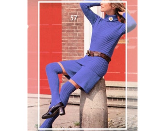 Instant Download PDF Knitting Pattern to make a Womens Ribbed Roll Neck Sweater Gauchos Culottes Long Thigh Socks 4 Sizes 32 to 38 inch bust