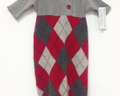 Baby Bunting, Red/Grey Cashmere, Baby One Piece Argyle Cashmere, cashmere sweater, infant wear, baby wooly bunting, baby sweater, Rosi'sCozy