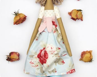 Rag doll, fabric doll, handmade softie plushie Tilda doll, cloth doll blue pink roses cream polka dots blonde doll baby shower gift
