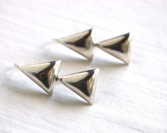 Triangle Dangle Earrings Vintage Mexican Modern Triangles Sterling Silver Delta Dangles Modernist Jewelry from Mexico